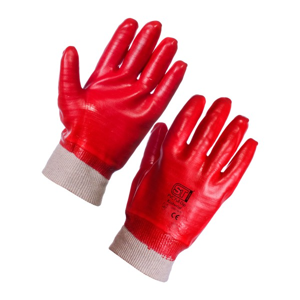 PVC Knitwrist Red Gloves