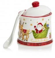 Christmas Sugar Pot with Spoon