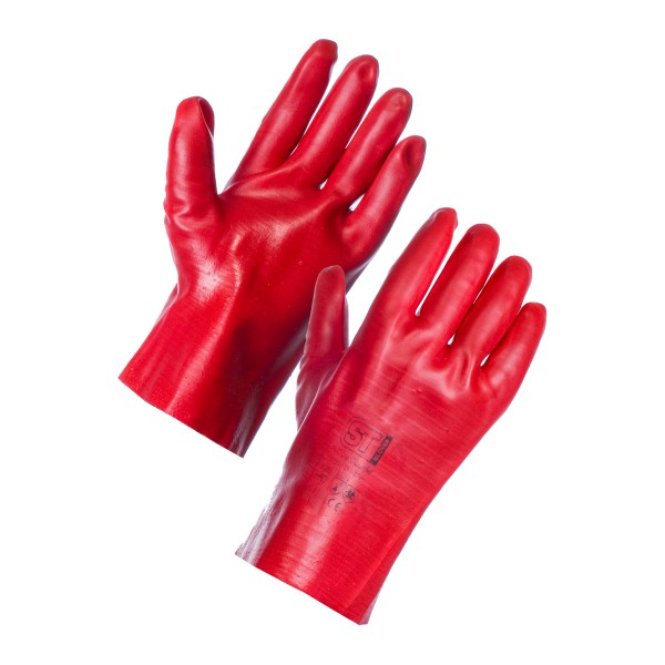 PVC Openwrist Red Gloves