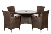Cannes Mocha Brown 4 Seater Set