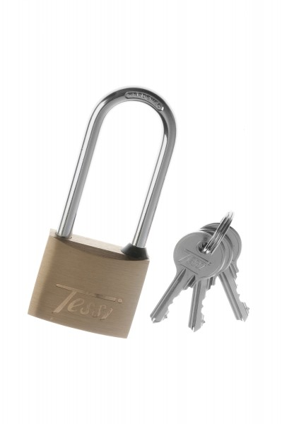 Tessi Solid Brass Padlock With Long Shackle,