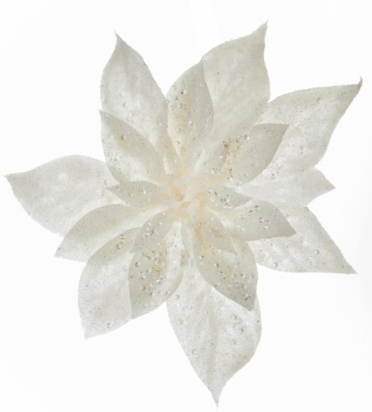 White Pearl Poinsettia Tree Decoration