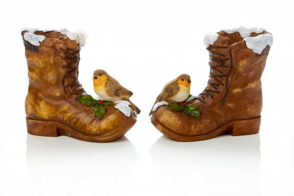 Christmas Boot Ornament with Robin