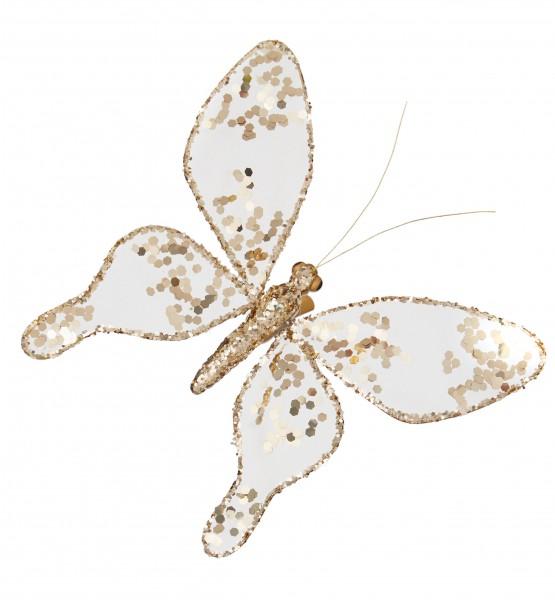Gold Butterfly Decoration with Sequin Clips