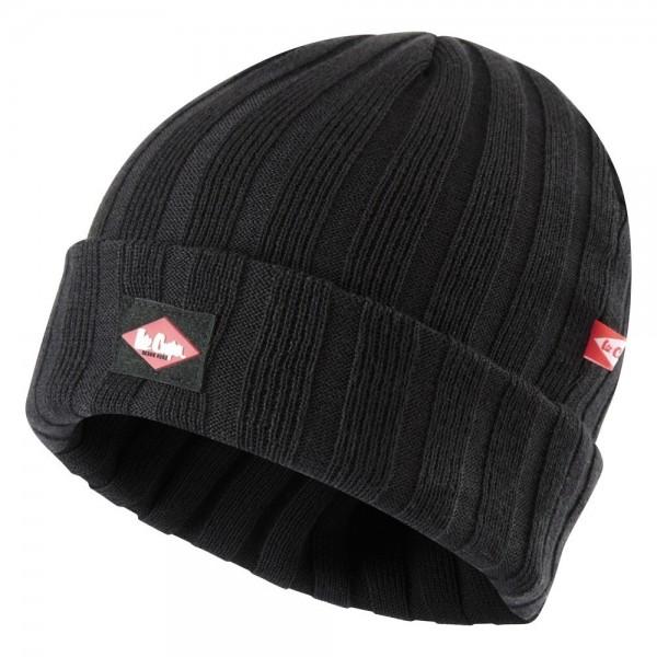 Lee Cooper Ribbed Beanie Hat Black