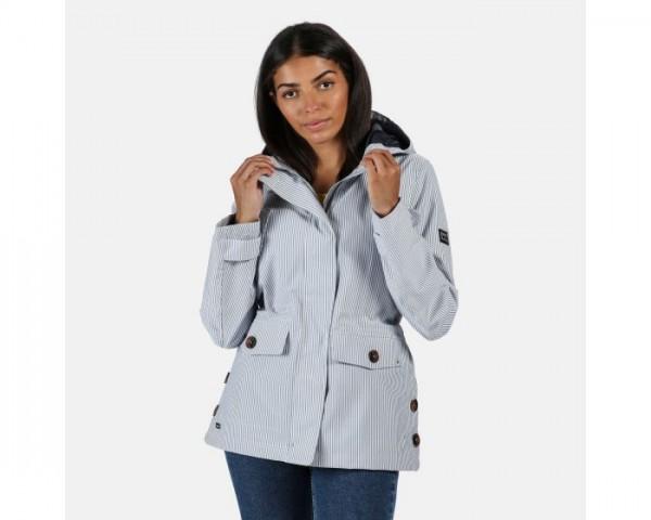 Regatta Ninette Lightweight Hooded Waterproof Jacket Blue Ticking Stripe