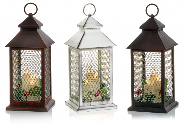 Christmas Lantern with LED Candle and Berries