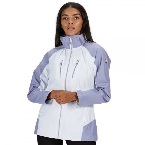 Regatta Calderdale IV Waterproof Hooded Walking Jacket - White & Lilac